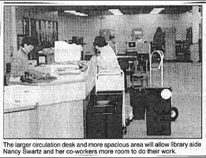 News article clipping of  1993 library expansion
