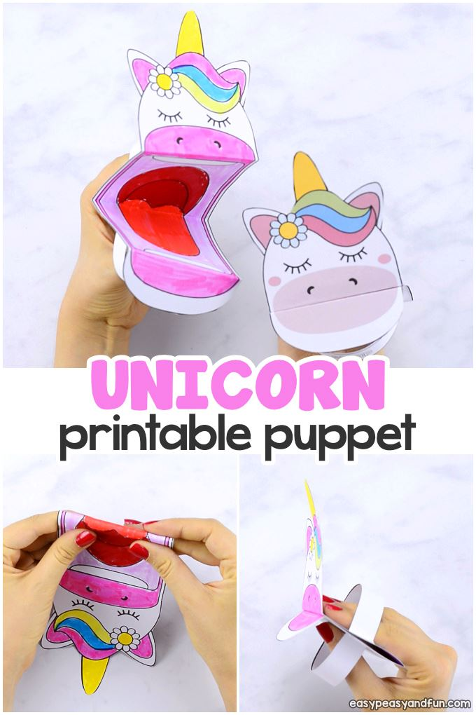Printable Unicorn Puppet Opens in new window